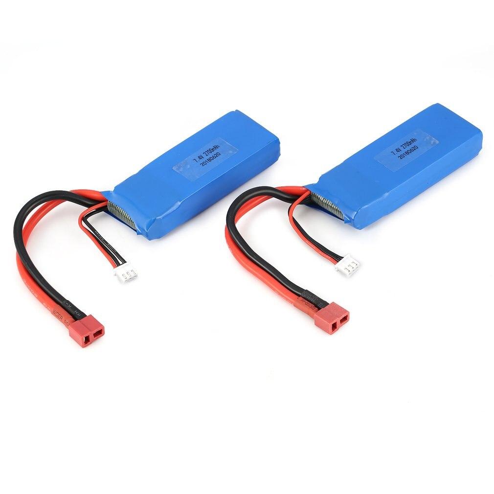 2 uds 7,4 V 2700mAh 20C 2S Lipo batería con T enchufe para Wltoys 10428-A 10428-B 10428-B2 10428 1/10 coche trepador de control remoto Feilun FT012 juguete