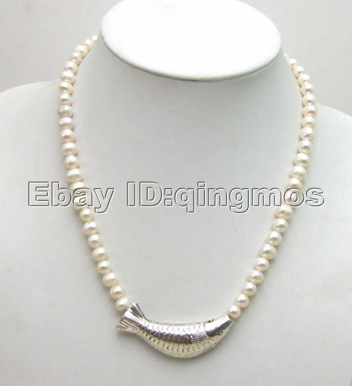 Venta de 6-7mm NATURAL blanco FW collar de perlas cultivadas con curvas de plata tibetana de pescado-5347 envío gratis