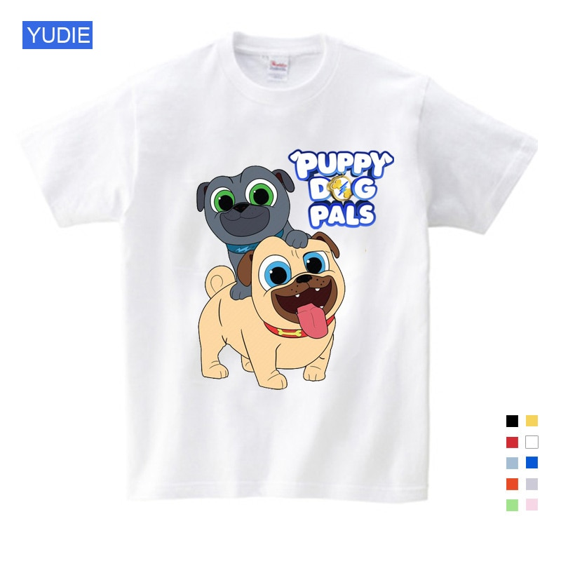 Kids T Shirt cartoon Clothes boys 2021 Summer Cartoon Dog Friends Tee Tops for Boy Girls Kids Clothes White Funny T-shirt red