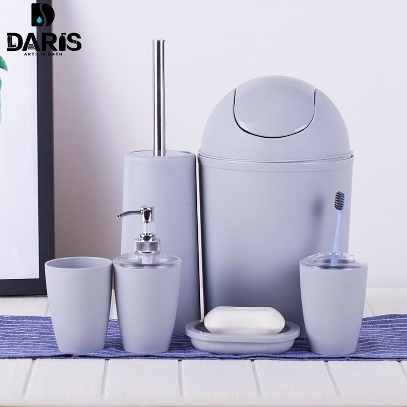 SDARISB 6PCS Solid Luxury Plastic Bathroom Accessories Set Wash Suit Shell Bath Set Tumbler Toothbrush Holder Set Bath Storage