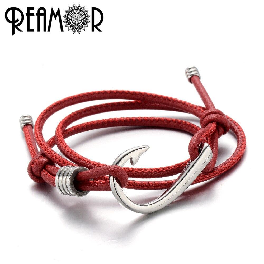 Reamor 316l aço inoxidável gancho de pesca masculino encantos pulseiras ajustável múltiplas camadas 2 mm corda couro na moda pulseira feminina