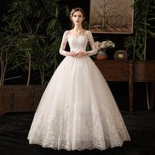 2019 novo elegante o pescoço vestido de noiva manga cheia ilusão rendas bordado simples feito sob encomenda vestido de noiva l