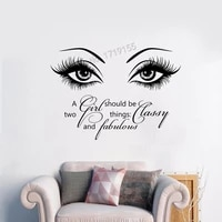 high quality girls eyes wall decal quote wall vinyl stickers livingroom makeup woman mural interior beauty salon decor diy zw414