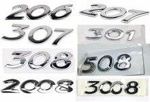 Цифровая эмблема серебристого цвета для Peugeot 206/301/307/308/508/2008/3008, декоративный Автомобильный задний знак, бесплатная доставка