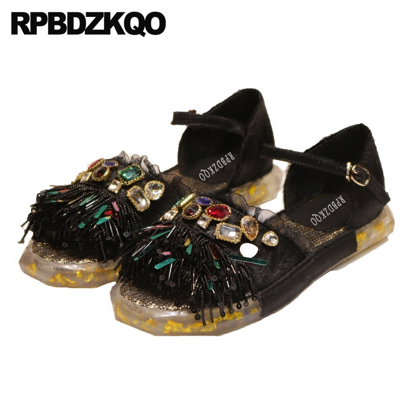 حذاء نسائي فاخر ، صندل دانتيل كريستالي عالي الجودة ، حذاء مسطح مع خرز لامع ، جلد طبيعي ، أسود