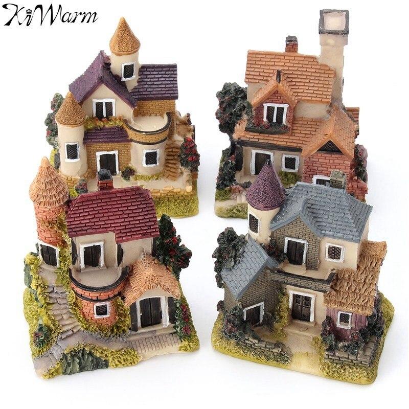 1 Uds Mini Casa de resina casa miniatura Jardín de hadas Micro paisaje casa resina decorativa para jardín artesanías 4 estilos de Color al azar