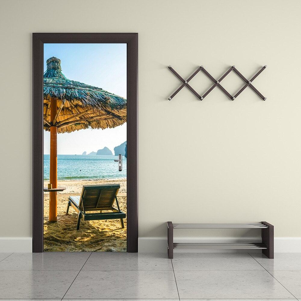 Affiche autocollante murale de porte en 3d   Autocollant de pare-soleil de plage, motif parapluie de plage, pour salle, bricolage, décoration de porte de maison, vente