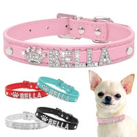 Блестящие стразы ошейники для щенков собак, персонализированный ошейник для маленьких собак чихуахуа, ожерелье с бесплатным именем, подвес...