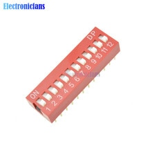 Rutsche Typ Schalter Modul 2,54mm 12-Bit 12 Position Weg DIP Red Pitch