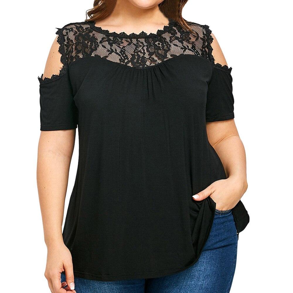 Blusa de talla grande con hombros descubiertos para mujer, Túnica con empalme de encaje, moda femenina con hombros descubiertos, Tops de XL-5XL de talla grande, blusa