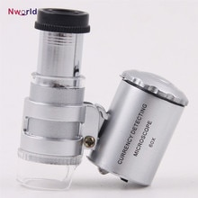 Mini Loupe de Microscope portable 60x détection de devises avec LED et lumière UV