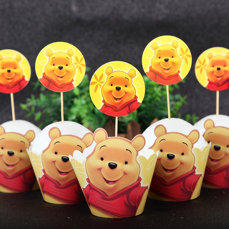 AliExpress - Winnie the Pooh Theme Party Supplies Cupcake Wrappers Toppers Kids Birthday Party Decoration 12pcs wraps+12pcs toppers