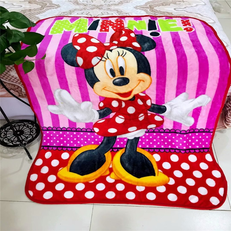 Disney Mickey Minnie Cartoon Flannel Blanket 100x140cm small Throw for Baby Boys Girls Kids on Bed Crib Plane Car Summer Blanket