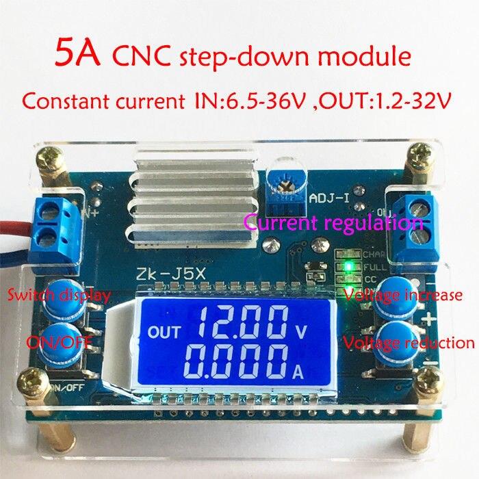 DC DC Buck Converter CC CV Power Module 6.5V-36V TO 1.2-32V 5A 5V 12V 24V Adjustable Regulated power supply Voltmeter ammeter