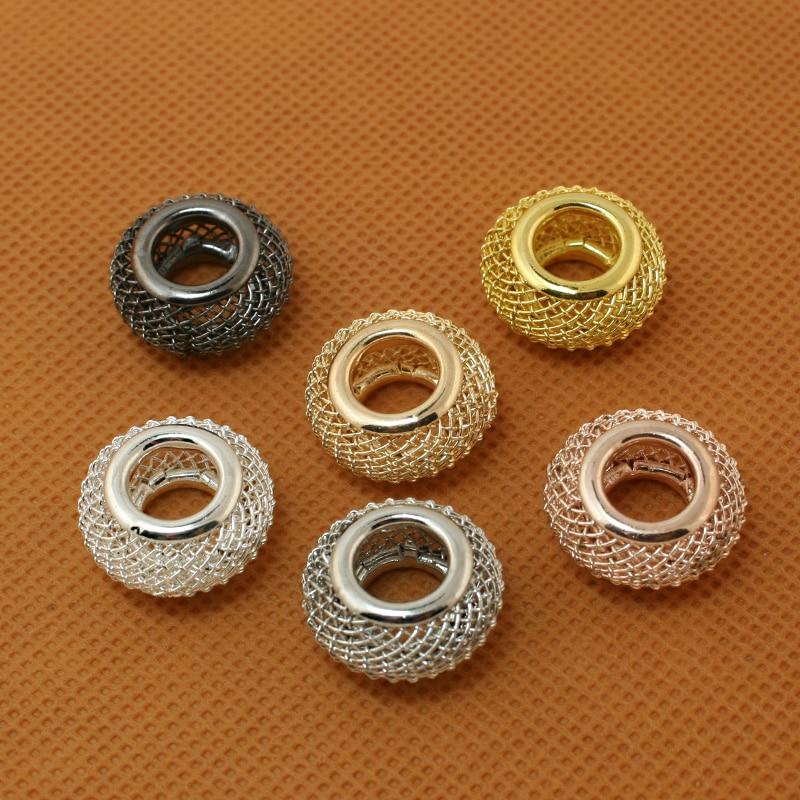 Moda quente 4 pçs/lote prata cor/ródio/ouro forma redonda grande buraco malha net metal espaçador contas caber europeu pulseira 9*18mm