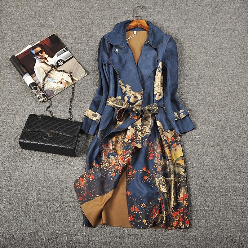 2019 الخريف والشتاء الجلد المدبوغ طويل الأكمام خندق معطف المرأة حجم كبير حزام عالية الجودة الإناث سترة واقية ملابس خارجية غير رسمية R705