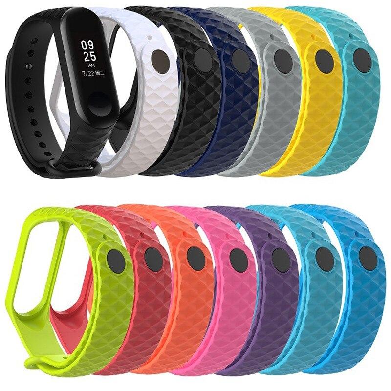 Correa de repuesto de silicona para Xiaomi mi band 3 mi band 4 Smartwatch, accesorios de pulseras, cintas suaves rómbicas