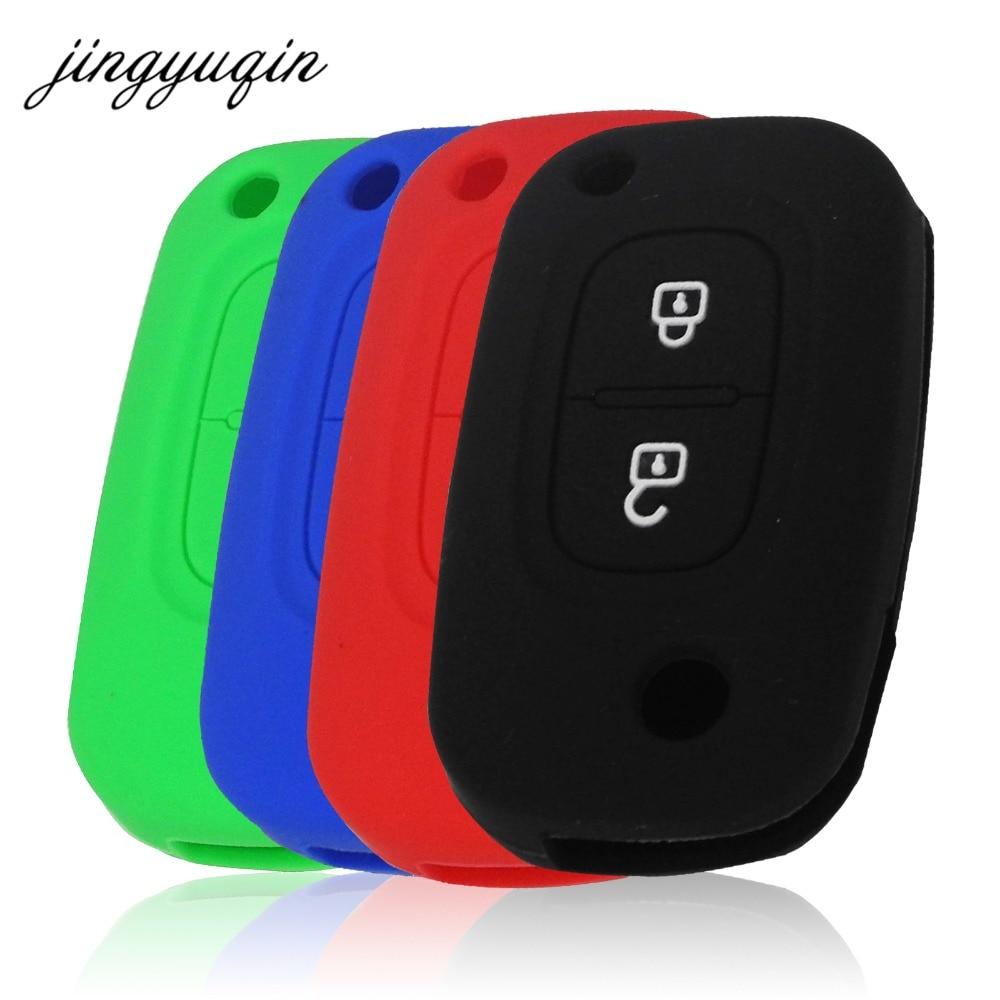 jingyuqin Silicone Flip Car Key Case for Renault Modus Clio Megane Kangoo for Lada 2 Buttons Auto Folding Remote Key Cover