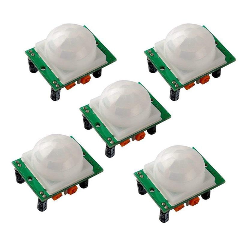 MOOL 5PCS HC-SR501 Adjust Ir Pyroelectric Infrared PIR Humen Motion Sensor Detector Modules for Arduino UNO R3 Mega 2560 Nano