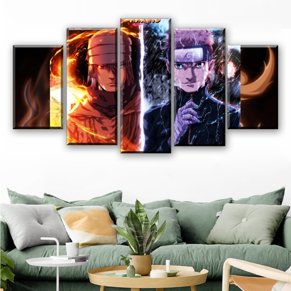 5 piezas caliente Anime Naruto póster Anime lienzo pintura Cuadros Decoraci N Dormitorio Tableau Mural Toile Envío Directo