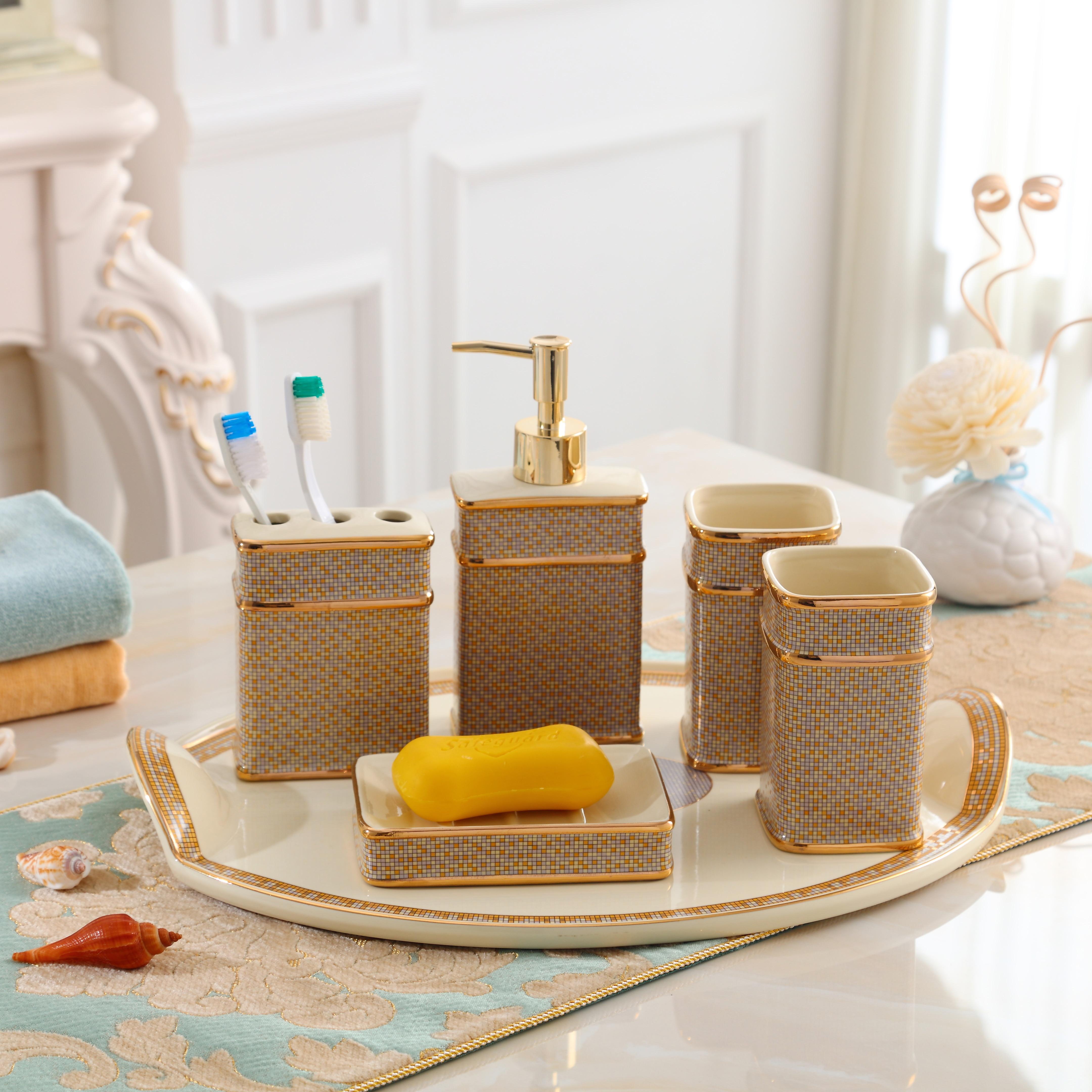 Bathroom Sets Ceramic Liquid Dispenser Toothbrush Holder Soap Dish Cups Accessories Toilet Supplies enlarge