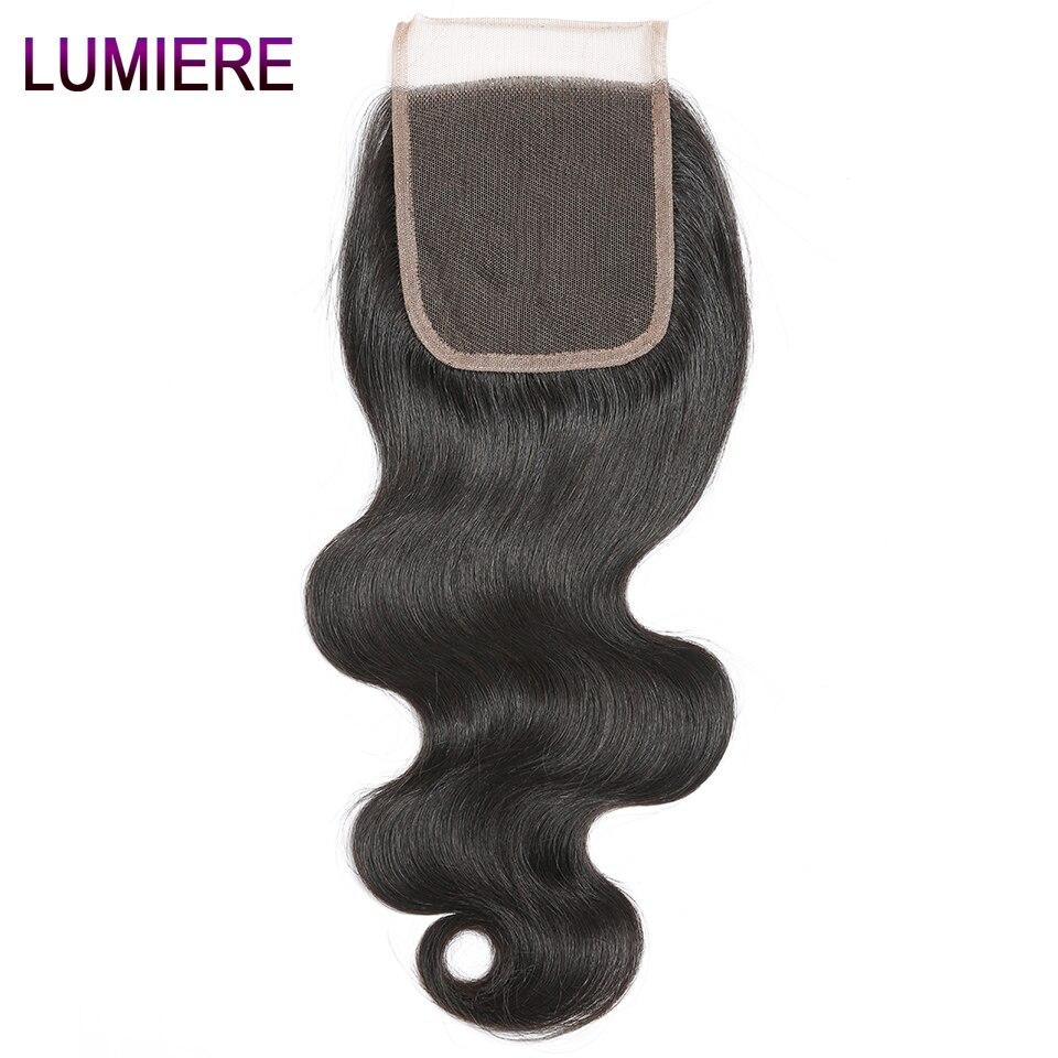 Pelo humano peruano de Lumiere, cierre de cabello humano con ondas corporales, cierre de pelo humano, sin Remy/Tres/parte media, Color Natural, 8-20 pulgadas