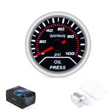 "Dynoracing 2"" 52MM Car Smoke lens Oil pressure gauge 0-100 PSI Display Oil Press Meter Include sensor TT101230"