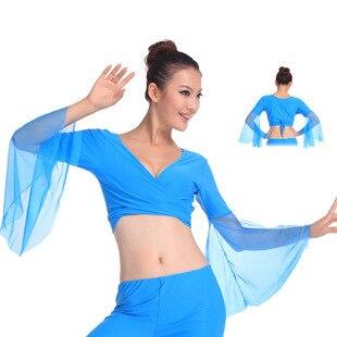 2019 danza del vientre rendimiento Popular mujeres Sexy cuello pico gasa lago Azul tops para danza del vientre trajes de baile de alta calidad