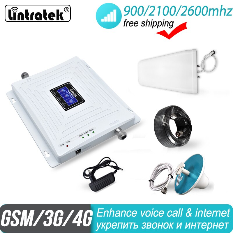 2600 4g sinal impulsionador lintratek 2g 3g tri banda gsm 900 wcdma 2100 fdd lte celular umts 4g cidade repetidor amplificador 38