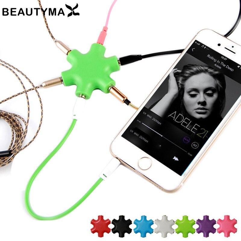 3.5mm divisor de fone de ouvido adaptador de áudio jack 5 vias porto aux fone de ouvido hexágono distribuidor saída áudio música compartilhar conversor