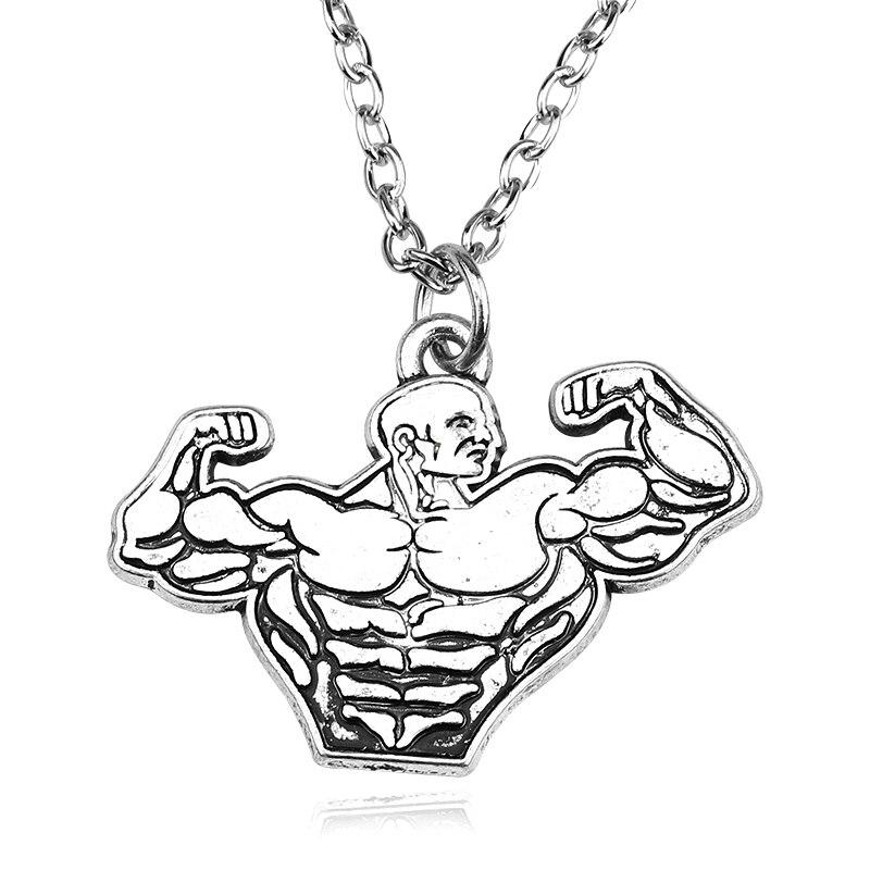 Винтажный Мужской кулон в стиле стимпанк, мускулистый кулон, ожерелье для мужчин, для занятий спортом, фитнесом, преподавателем, для мужчин, ...