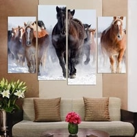 unframed 4 pcs high quality cheap art pictures running horse large hd modern home wall decor abstract canvas print oil painting