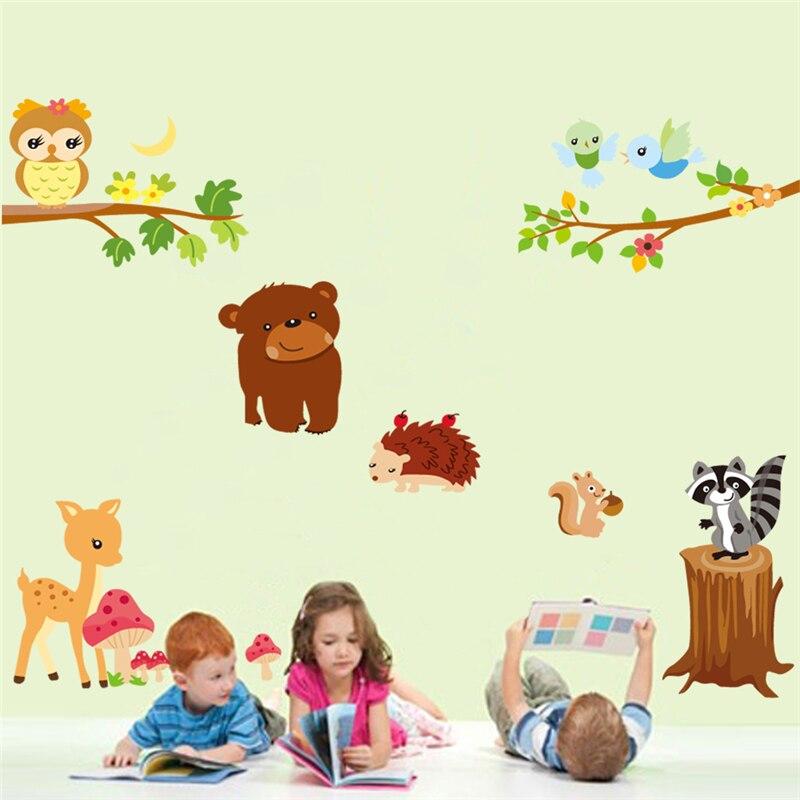 Dibujos Animados oso búho erizo pared pegatinas para sala de estar guardería pared arte decoración animales mural diy calcomanías niños regalo