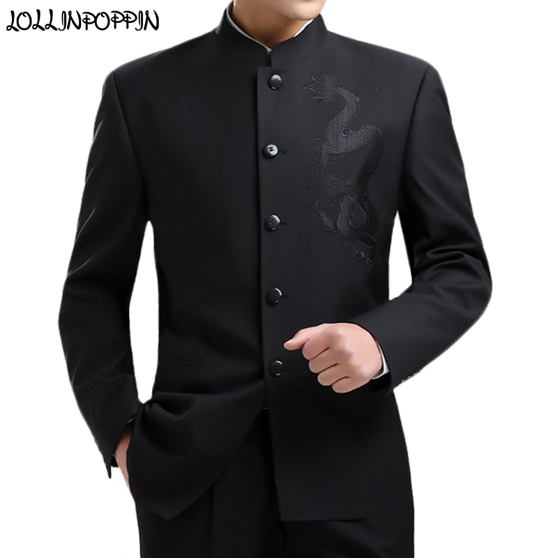 Dragon Embroidery Men Chinese Style Tunic Suit Jacket Mandarin Stand Collar New 2020 Kung Fu Coat Single Breasted Black