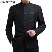 Dragon broderie hommes Style chinois costume veste col Mandarin nouveau 2019 tunique costume vestes hommes Kung Fu manteau noir