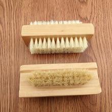 Holz Doppelseitige Griff Nylon Borsten Maniküre Pediküre Schrubben Nagel Bad Pinsel können CSV