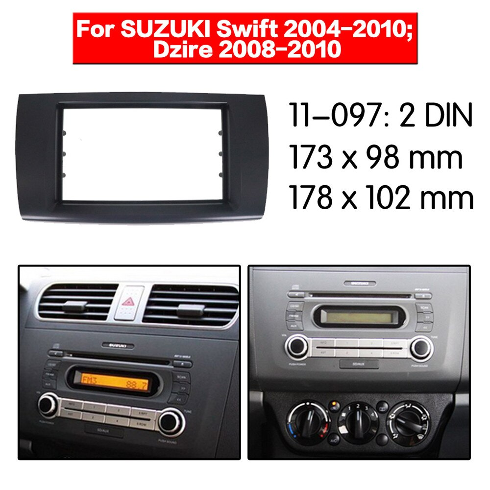 Car Radio Fascia multimedia Frame Kit For SUZUKI Swift 2004-2010; Dzire 2008-2010 Facia Panel Trim Dash CD 2 Din Audio Bezel