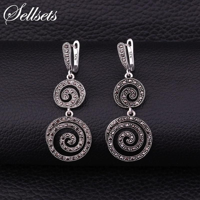 Sellsets Black Cz Rhinestone Spiral Dangle Drop Earring Vintage Silver Color Big Long Earrings Women Jewelry Wedding Party Gifts