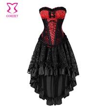 Corzzet rouge + noir brocart acier désossé Corset robe femmes Halloween fête mascarade gothique Corset jupe ensemble