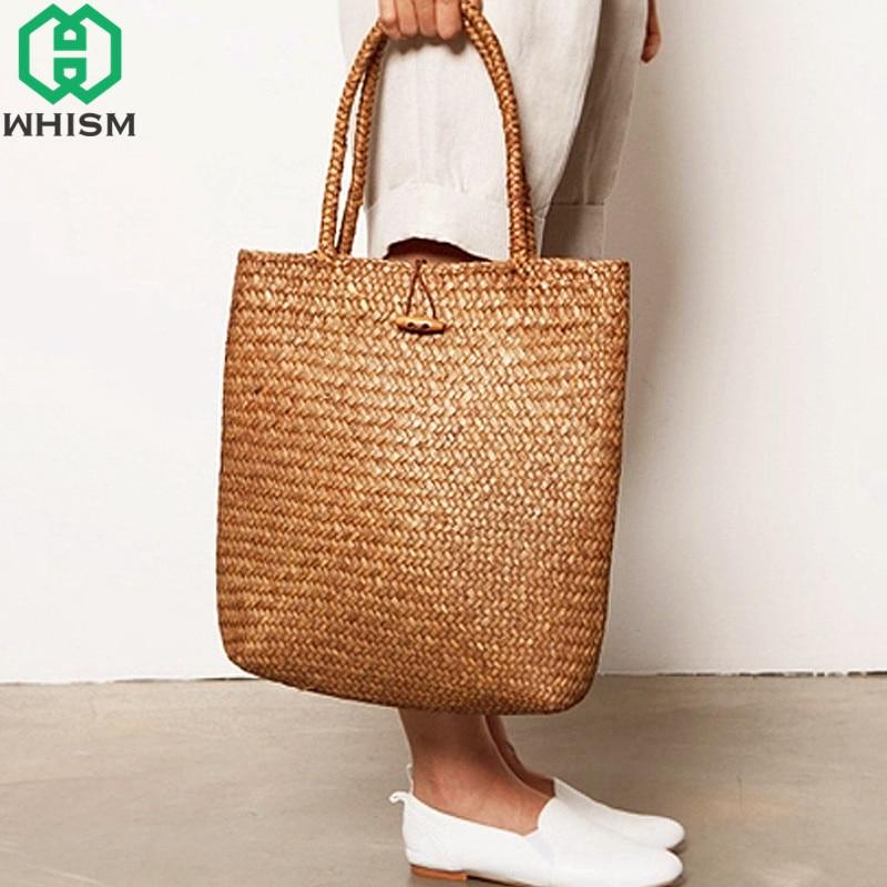 WHISM Rattan Grass Shoulder Bags Straw Women's Knitting Handbags Handmade Storage Bag Travel Wicker Storage Basket with Button