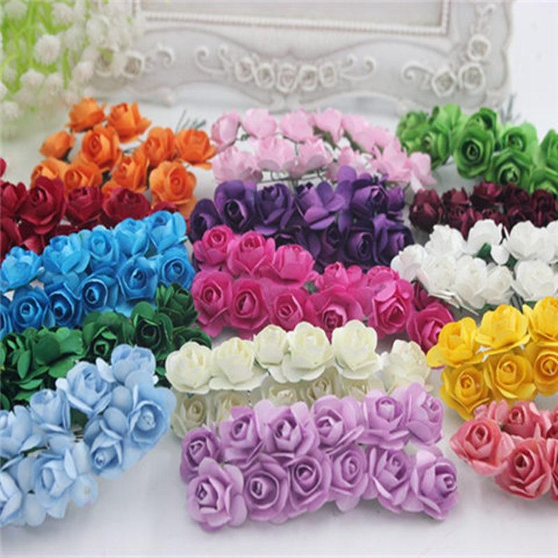 12PCS / lot 1.5 cm artificial small paper rose handmade party supplies wedding car decoration Artificial flower
