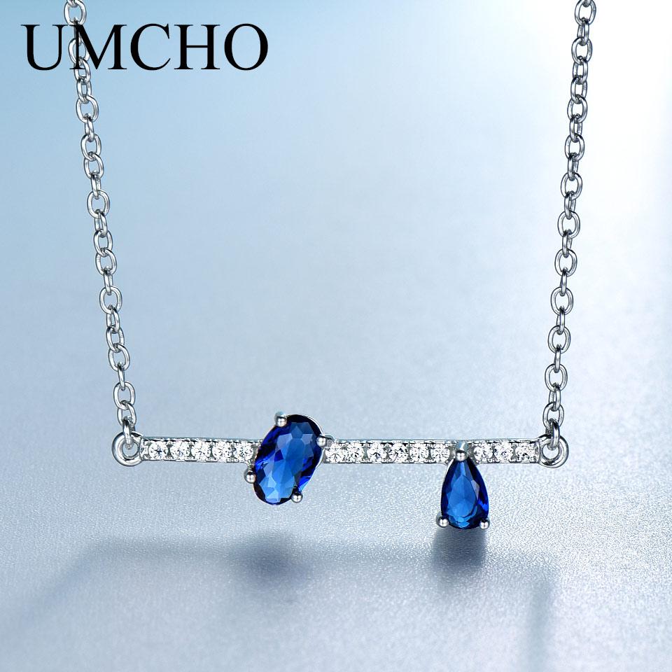 UMCHO genuino 925 joyería de plata ovalado irregular creado Azul zafiro cadenas collares colgantes para mujeres regalos de compromiso