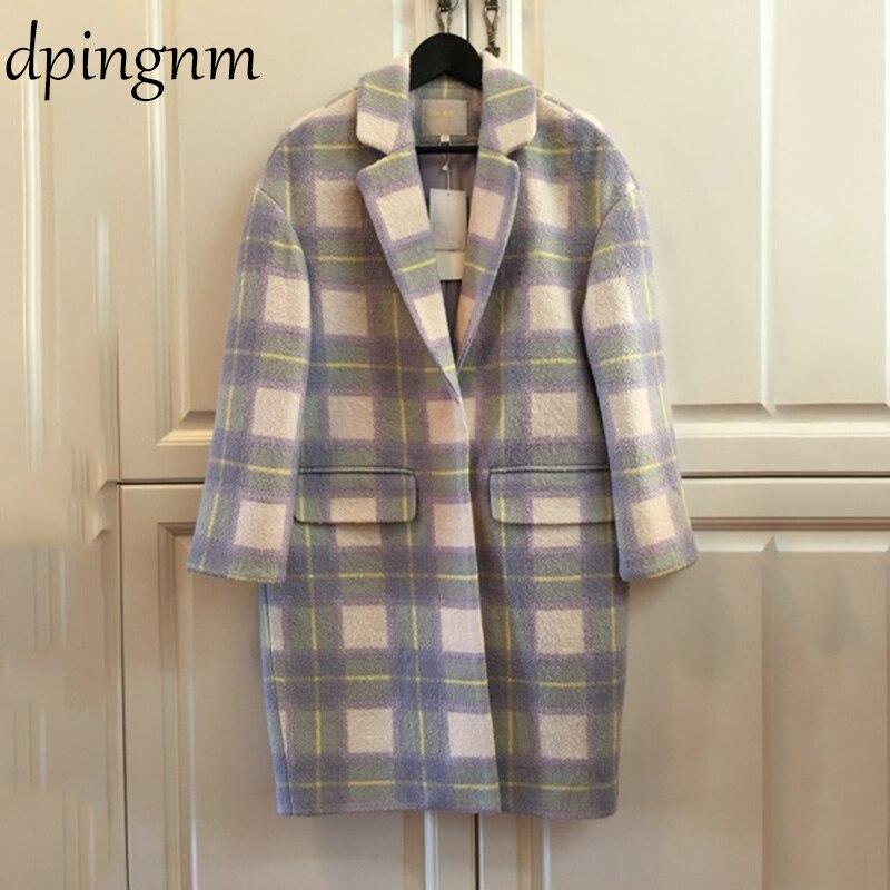 Women Wool Coat Plaid Women Loose Long  Woolen Coat Winter Coat Woolen Overcoat 2018 Coats