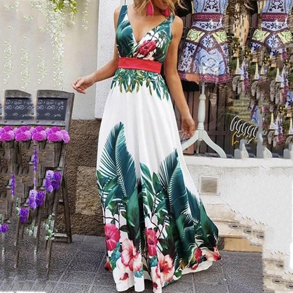 H35 vestido de fiesta de las mujeres 2019 verano cuello pico vestidos sin mangas coleccionar cintura dibujo bohemio Maxi vestido de sukienka ватетититеттеттатититититтитититити