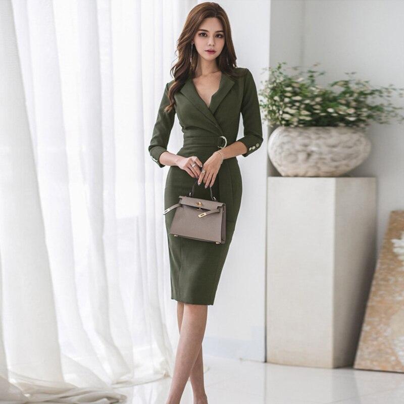 Женское платье-карандаш, модное зеленое формальное платье