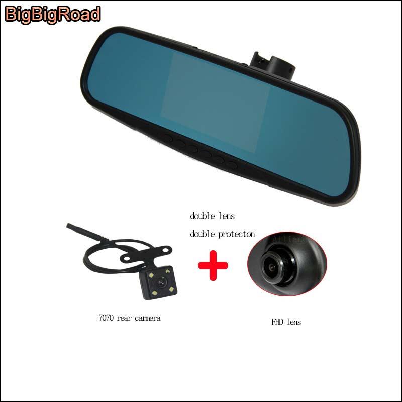 BigBigRoad para citroen elysee espejo de pantalla azul de coche DVR + cámara de visión trasera video grabador monitor de estacionamiento conectar a la caja de fusibles