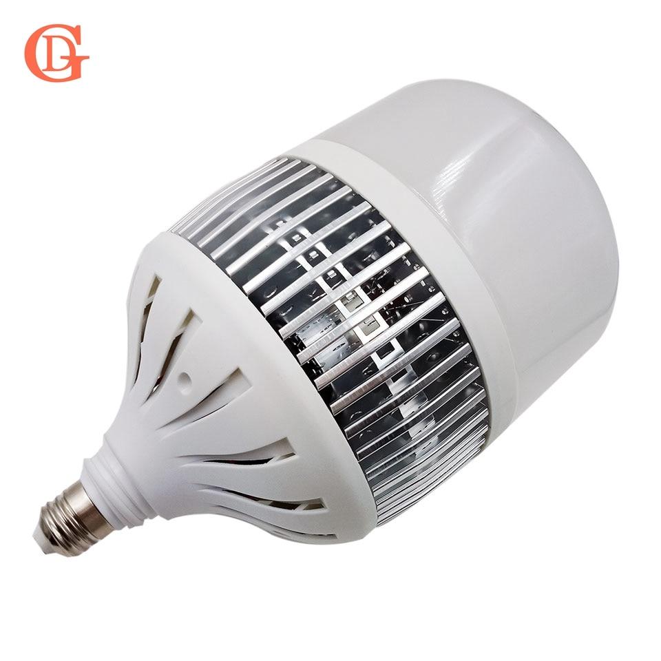 GD Светодиодная лампа 50 Вт 80 Вт 100 Вт 150 Вт E27 Светодиодная лампа с вентилятором 110лм/Вт лампада Светодиодная лампа с ребрами радиатора 220В 230В 240...
