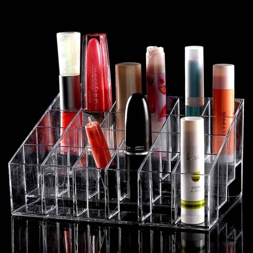 Chic acrylique maquillage organisateur stockage rouge à lèvres maquillage vernis à ongles porte-présentoir 4 couches 24 Lattic bijoux support