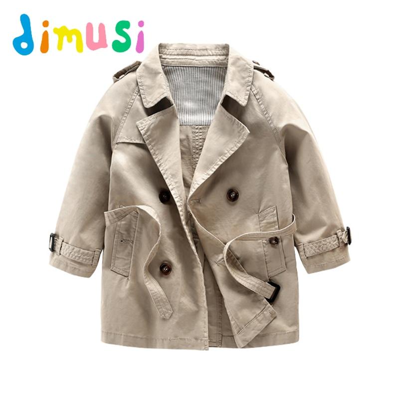 DIMUSI 2017 Autumn Boy's long jacket Coat 95% cotton kids winter boys wind coat solid windbreak outwear children clothes BC085