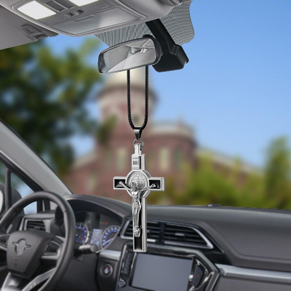 Металлическая статуэтка Иисуса, крестообразное распятие, украшение автомобиля, зеркало, крест, подвесной кулон, авто Декор интерьера, украшение, аксессуары